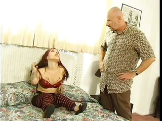 bald guy fucking a slutty midget in her throat