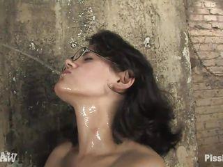 dorky milf enjoying piddle on her naked hot body
