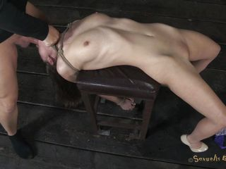 trashy milf tied on chair and mouth drilled