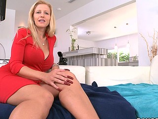 Nasty and adorable blonde Holly is riding on his schlong