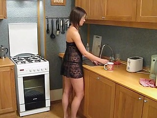Horny fellow with erect shlong is going to insert shlong right inside the babe in kitchen