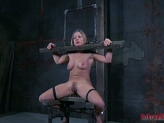 Gagged and clamped slut gets punishment