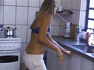 Sexy Blonde Using The one and the other Holes
