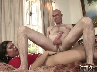 Bald guy rides cock of shemale cheerleader