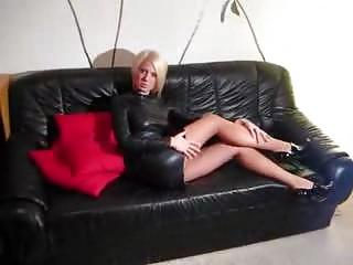 Hottie In Leather Doing Her Job