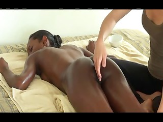 Massage on bed for darksome girl