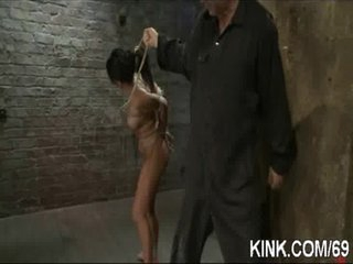 Sexy babe bound, suspended, punished and drilled