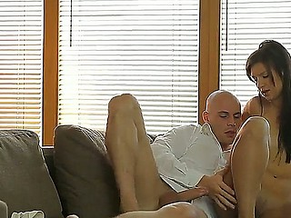 Young brunette girl Gabriella D with natural boobies gets boned deep by bald fucker Leny Ewil in close up