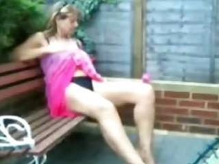 British amteur housewife sunbathing in the garden