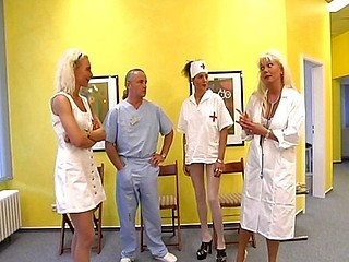 Hawt blond nurse receives it on with an old dirty doctor on the floor