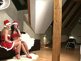 Enjoy sex Christmas photoset for two obscene lesbian dolls Silvia Saint and Tea Jul
