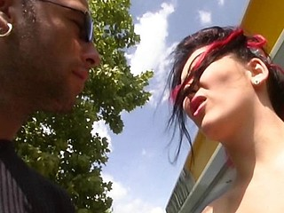 Naughty punk nympho from Germany sucks a guy off outdoors