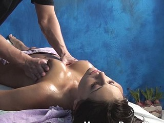 Man massages body of hawt sweetheart with oild in advance of fucking her