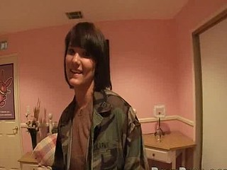 Army chick in nasty home porn tape.