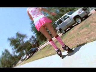 Roller Gal Gets Group-fucked in her skates!