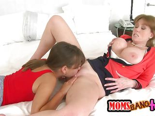 guy gets blowjob from gf and her mom