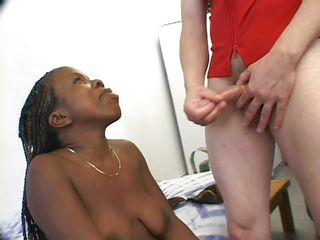 2 guys fucking a black midget slut