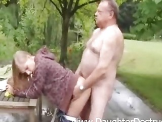 Cute girl fucked by old bawdy man