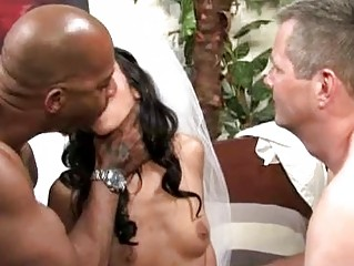 Slutty cuckold bride can't live without interracial