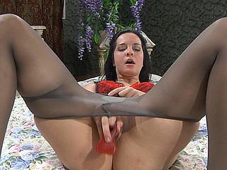 Mabel posing in pantyhose