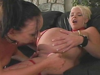 Two women play with each other before getting a cock to fuck