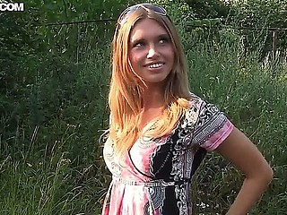 Adorable teenager demonstrates her delicious body outside and plays a naughty nurse