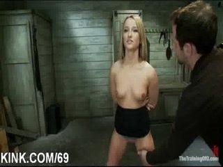 Busty glamorous hot girl acquires punished fucked in bondage