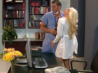 Candy is a secretary at a hospital who has a crush on Dr. Mountain. That Playgirl fantasizes about him on the job and dreams of him fucking her right there at her desk. Unfortunately, Candy has always been too shy to do anything about it. That is, until a slutty nurse has a little talk with her and tells her that that babe just needs to take control of the situation and actively tempt Dr. Mountain. Candy takes this advice to heart, and when Dr. Mountain ducks into an empty room to catch some sleep, Candy comes to a conclusion to take control of the situation by taking control of his schlong.